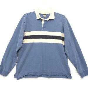 LL Bean VINTAGE Rugby Shirt Mens L Faded Blue